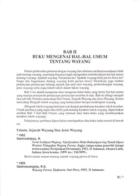 Kepustakaan Wayang Purwa Jawa - BAB II BUKU MENGENAI HAL-HAL UMUM TENTANG WAYANG