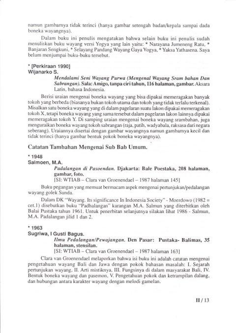 Kepustakaan Wayang Purwa Jawa - BAB II 01 SEJARAH WAYANG, JENIS WAYANG - Budi Adi Soewirjo
