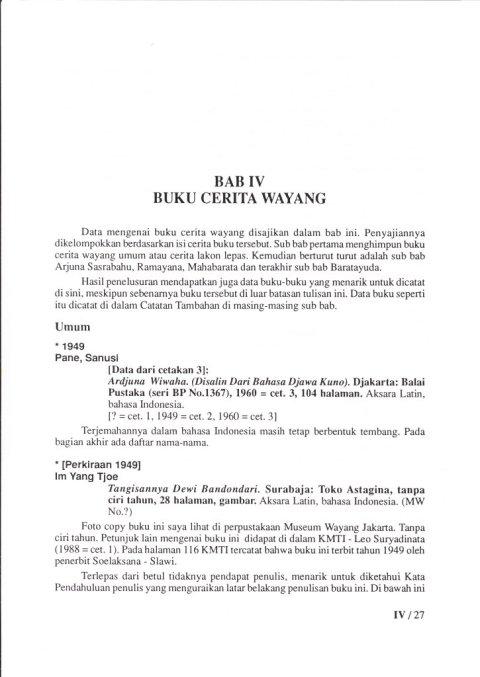 Buku KEPUSTAKAAN WAYANG PURWA (JAWA) - Bab 4 Buku Cerita Wayang (Bukan Komik)