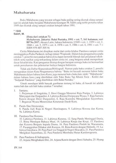 Buku KEPUSTAKAAN WAYANG PURWA (JAWA) - Bab 4 Kepustakaan Cerita Wayang (bukan komik) - Sub Bab 5 Mahabarata.