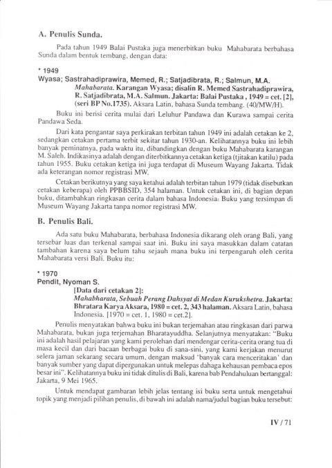 Buku KEPUSTAKAAN WAYANG PURWA (JAWA) - Bab 4 Kepustakaan Cerita Wayang - Sub Bab 5 Mahabarata - oleh Budi Adi Soewirjo