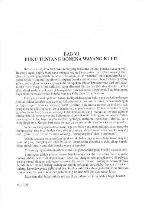 Buku KEPUSTAKAAN WAYANG PURWA (JAWA) - Bab 6 Kepustakaan Tentang Boneka Wayang Kulit - oleh Budi Adi Soewirjo