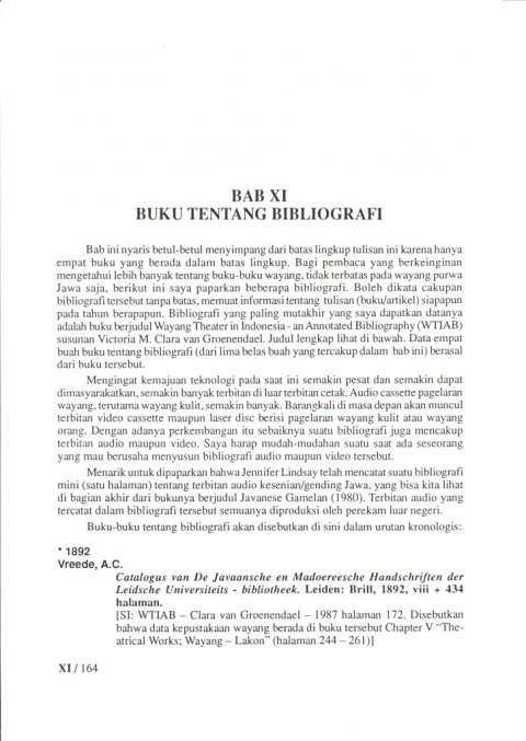 Buku KEPUSTAKAAN WAYANG PURWA (JAWA) Bab 10 Buku Tentang Bibliogaphy - oleh Budi Adi Soewirjo.