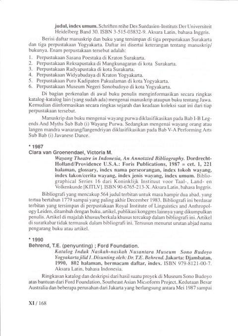 Buku KEPUSTAKAAN WAYANG PURWA (JAWA) - Bab 11 Buku Tentang Bibliography - oleh Budi Adi Soewirjo.
